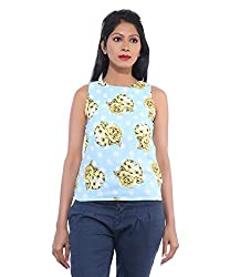 Avakasa Polyester Blue Printed Partywear Sleeveless Sleeves Top (top-21-blue)