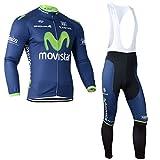 2014 Outdoor Sports Pro Team Men's Long Sleeve Movistar Cycling Jersey and Bib Pants Set