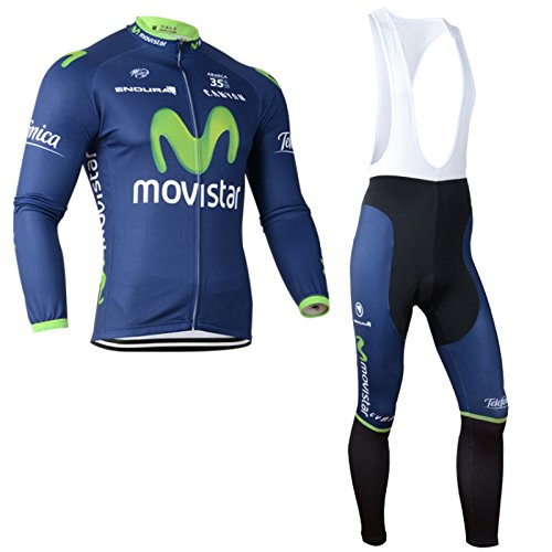 2014 Outdoor Sports Pro Team Men s Long Sleeve Movistar Cycling Jersey and  Bib Pants Set ea8a99d16