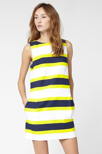 Sleeveless Bold Stripe Drop Waist Dress
