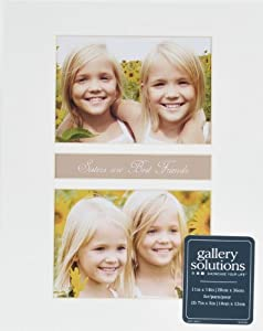 Gallery Solutions Single Bevel Mat, 11 by 14-Inch Matted Opening to Display 2 5 by 7-Inch Photos, White
