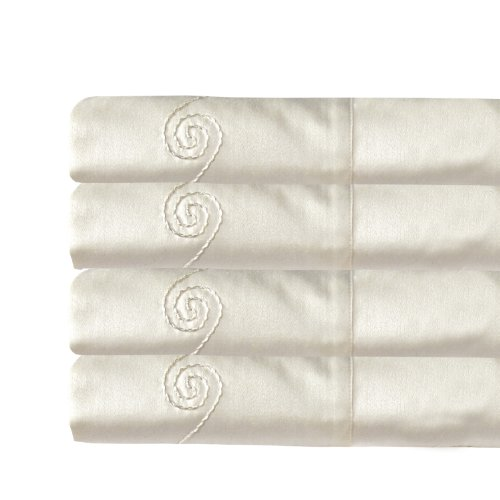 MADE IN THE USA 800TC 100% Cotton Sateen Swirl Sheet Set, Full, Ivory By Veratex (Made In Usa Sheet Set compare prices)