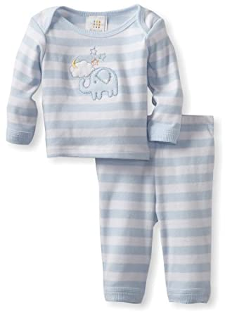 ABSORBA Baby-Boys Newborn Two Piece Layette Pant Set, Blue, 0-3 Months