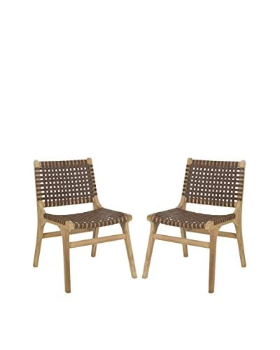Safavieh Set of 2 Guilford Side Chair, Brown