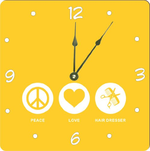 """Rikki Knighttm Peace Love Hair Dresser Yellow Color Design 6"""" Art Desk Clock front-573854"""