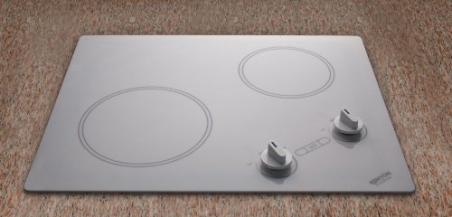 Kenyon Polar B49513 21″ Smoothtop Electric Cooktop with 2 Radiant Ribbon Elements, Hot Burner Indicator Light and White Glass: 240 Volts