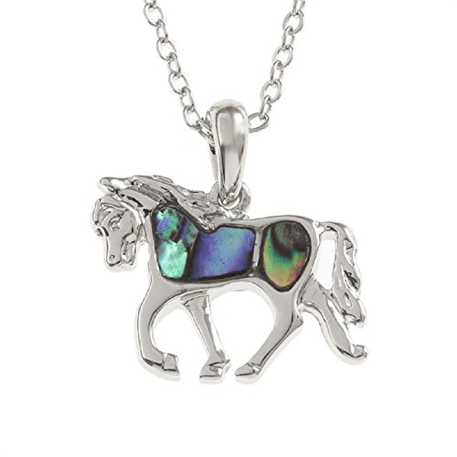BellaMira-Abalone-Horse-Silver-Pendant-20mm-Necklace-18inch-Silver-Chain-Exotic-Jewellery-Symbolising-Power-Determination-Mystery-Confidence-Grace-for-Women-Unisex-Girls-Gift-Boxed