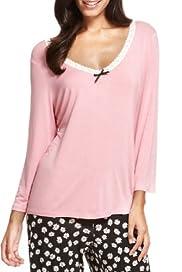 Floral Lace Neckline Pyjama Top [T37-5633-S]