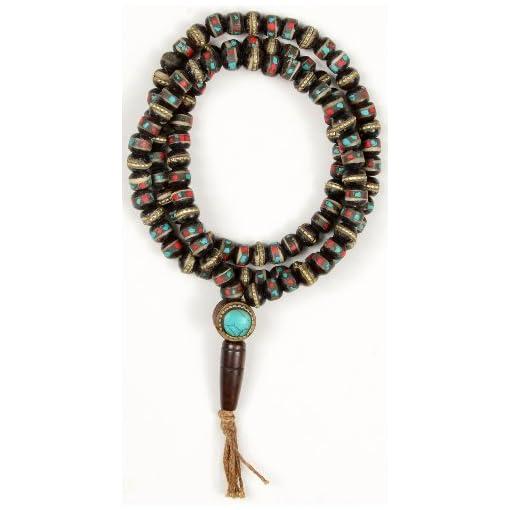 Mala-tibetische-Gebetskette-Horn-mit-Steinen-besetzt-dunkel-8-mm-Gesamtlnge-von-70-cm