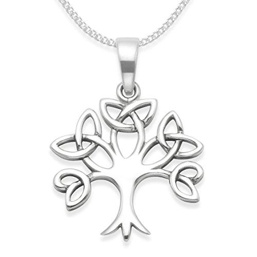 In argento Sterling con albero della vita, catenina in argento con ciondolo,-Tree della vita celtico Pendant. Dimensioni: 19 x 18 mm 8099. in confezione regalo. 8099/24