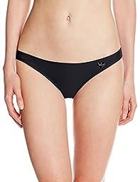 Body Glove Women\'s Smoothies Basic Full Coverage Bikini Bottom, Black, Small
