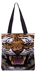 Snoogg Angey Tiger Poly Canvas Tote Bag