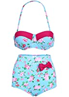 Turquoise Floral High Waist Retro Bikini Top and Bottom Swimsuit Swimwear