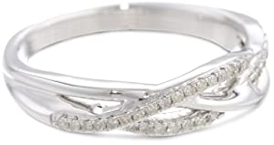 Sterling Silver Diamond Fashion Crossover Ring (1/6 cttw, H-I Color, I2 Clarity) by Max Mark Inc.