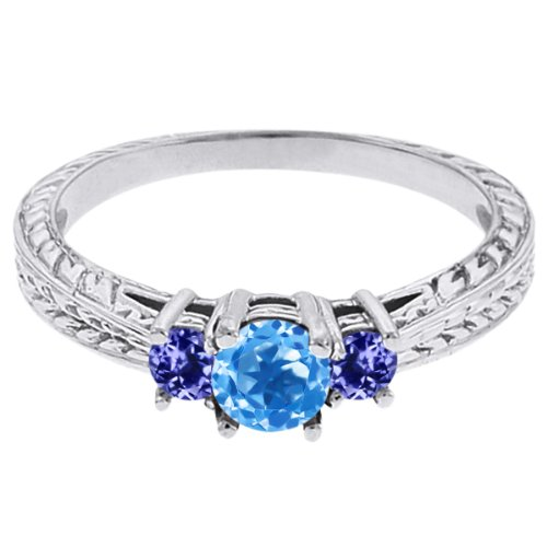 0.57 Ct Round Swiss Blue Topaz Blue Tanzanite 14K White Gold 3-Stone Ring
