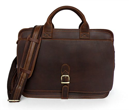 Mige Intl Men'S Leather Briefcase Dark Brown