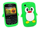 Kit Me Out US Silicon Skin for BlackBerry 8520 / 9300 Curve 3G - Green / White Cute Penguin Design