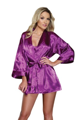 Dreamgirl Women's Charmeuse Robe Set, Orchid, Small