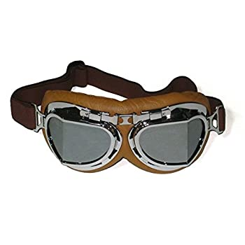 Vintage Aviator Style Split Lens Motorcycle Goggles - Brown Padding - Chrome Frame - Mirror Lens