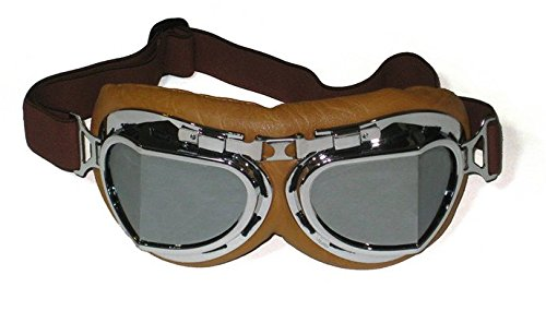 Vintage Aviator Style Split Lens Motorcycle Goggles - Brown Padding - Chrome Frame - Mirror Lens 0