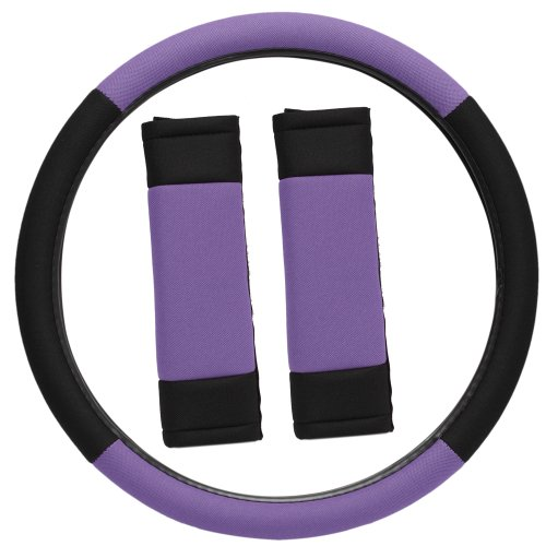 Oxgord Sport Mesh Steering Wheel Cover And Seat Belt Pad Set For The Mini Cooper Paceman Hatchback In Purple & Black Mesh front-872864