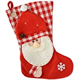 WeRChristmas 48 cm Stocking with Father Christmas Santa Claus Head Finished Decoration , Red/ White