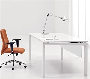 "Modern 60"" Executive Computer Desk in White Lacquer Finish"
