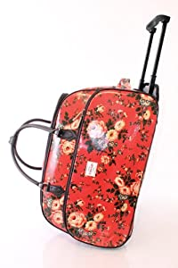 Floral Red Wheeled Trolley Bag/Weekend Bag/Wheeled Luggage/Gym Bag/Hospital Bag