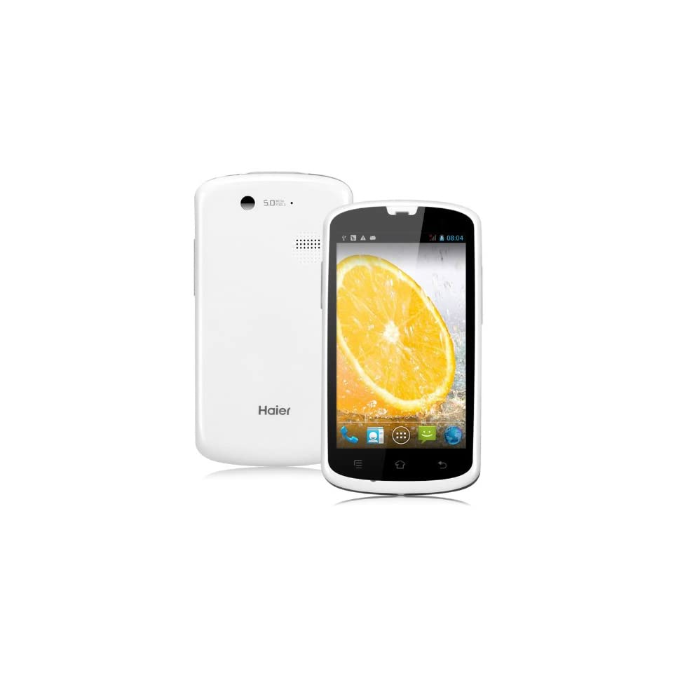 Haier Unlocked W718 Android 4.2 4.0 inch 1.2GHz Dual Core Dual SIM Card Dual Standby Dual Camera Bluetooth WiFi GPS 3G Cell Phone Smart Phone, Support Light, Gravity, Proximity sensor (White)
