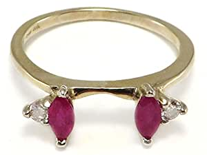 Marquise Ruby & Diamond Ring Wrap Guard 14k white gold