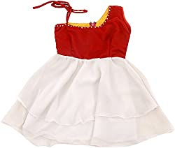 Kanchoo Girls' Long Frock (BSKF001_4-5years, Red & White, 4-5years)