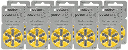 Power One Zinc Air Hearing Aid Batteries (Yellow) Size 10 Pack of...