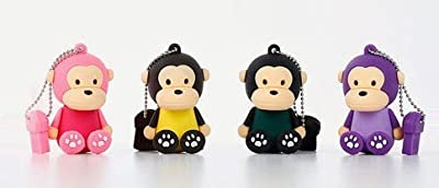 Sitting Baby Monkey USB 2.0 High Speed Silicon Flash Memory Drive Disk Stick Pen Support Windows and MacOS Great Gift (8GB Black with Dark Green tank top)). Presented in a Metal Gift Box. by NUT