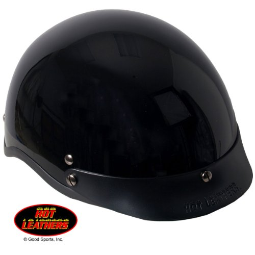 Hot Leathers Classic DOT Approved Helmet (Glossy Black, Large)