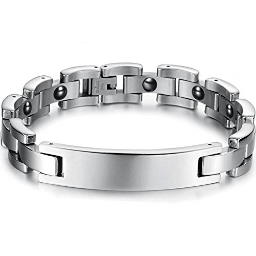Bemaystar Men'S Titanium Stainless Steel Leather Bracelet Chain Link Ideal For Gifts Silver