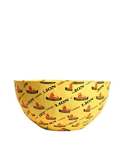 Asian Loft South African Lion Matchbox Paper Mache Bowl, Yellow/Black/Red