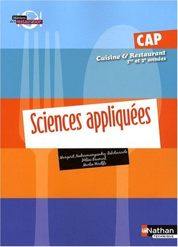 Sciences Appliquees Cap Cuisine Et Restaurant 1re Et 2e Annees, Pages Detachables