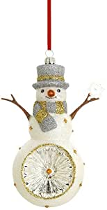 Reed & Barton Snowman with Snowflake Reflector Christmas Ornament, 5-1/2-Inch