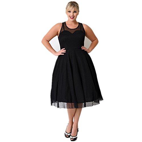 Kilolone Women's Vintage Sexy Plus Size Dress Excellent Gauze V-Neck Sleeveless Skirt (XL,Black)