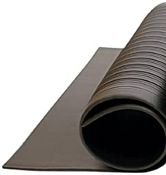 Bertech 3/8'' x 3' x 4' Black Anti Fatigue Vinyl Foam Floor Mat, Ribbed Pattern
