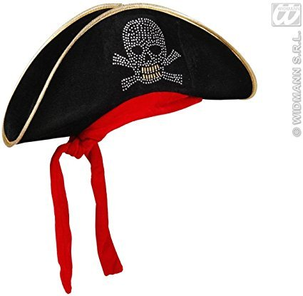 Cappello da Pirata in Velluto con Teschio Borchiato e Bandana