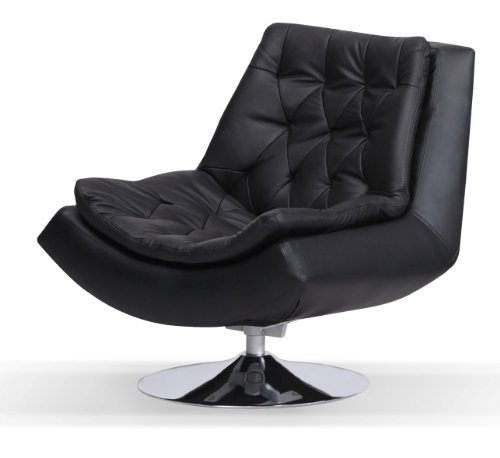 Ordinaire Capella Real And Faux Leather Iris Swivel Chair With Metal Base , Black
