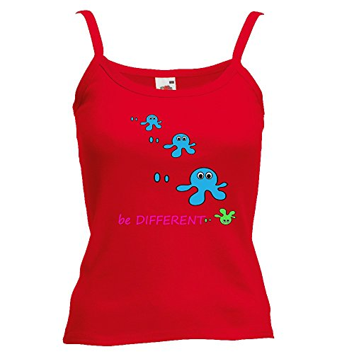 Divertente 028, Be Different, Rosso Fruit of the Loom Women Strap Tee Cotone Top e Canotte Spalline Donna con Design Colorato. Taglia XS.