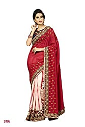 Sheknows Red and Off white Georgette Embroidered Saree