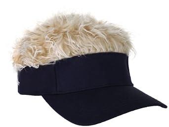Flair Hair Men's Navy Visor and Hair, Blonde, One Size