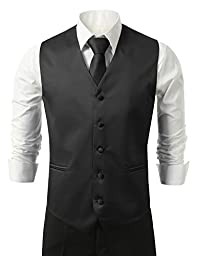 Brand Q Men\'s Dress Vest NeckTie Pocket Square Set for Suit or Tuxedo (6XL, Black)