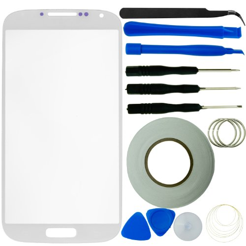 Samsung Galaxy S4 Screen Replacement Kit Including 1 Replacement Screen Glass For Samsung Galaxy S4 I9500 / 1 Pair Of Tweezers / 1 Roll Of 2Mm Adhesive Tape / 1 Tool Kit / 1 Eco-Fused® Microfiber Cleaning Cloth (White)
