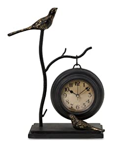 Bird Perch Mantle Table Clock