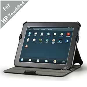 Acase(TM) HP TouchPad High Quality Premium Slim Leather Case Folio with built-in Stand for HP TouchPad 9.7-inch Tablet PC Wi-Fi (Black)