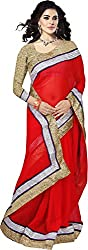 Trishulom Cloth's Online Women's Georgette Sarees With Blouse Piece (Red)